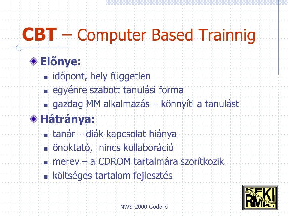 NWS 2000 Gödöllő CBT – Computer Based Trainnig Előnye: időpont, hely független egyénre szabott tanulási forma gazdag MM alkalmazás – könnyíti a tanulást Hátránya: tanár – diák kapcsolat hiánya önoktató, nincs kollaboráció merev – a CDROM tartalmára szorítkozik költséges tartalom fejlesztés