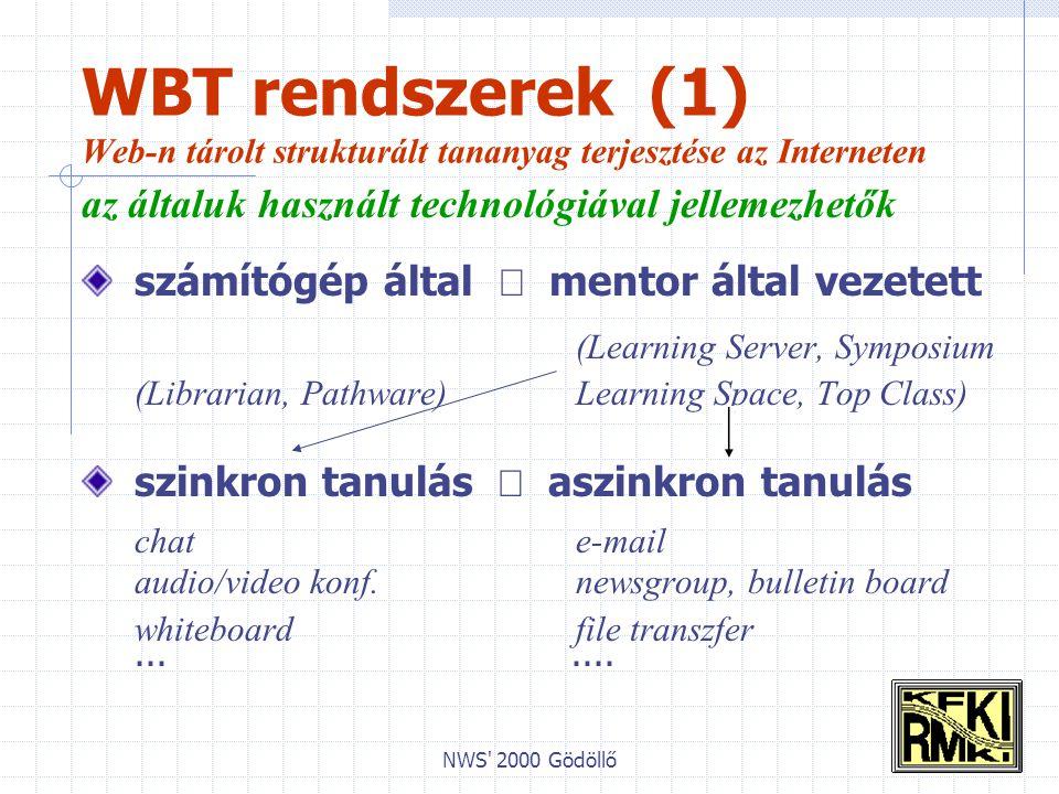 NWS 2000 Gödöllő WBT rendszerek (1) Web-n tárolt strukturált tananyag terjesztése az Interneten az általuk használt technológiával jellemezhetők számítógép által  mentor által vezetett (Learning Server, Symposium (Librarian, Pathware) Learning Space, Top Class) szinkron tanulás  aszinkron tanulás chat e-mail audio/video konf.