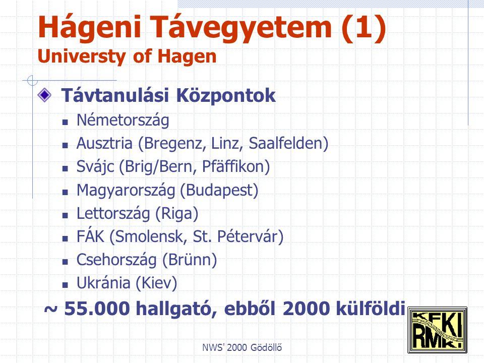 NWS 2000 Gödöllő Hágeni Távegyetem (1) Universty of Hagen Távtanulási Központok Németország Ausztria (Bregenz, Linz, Saalfelden) Svájc (Brig/Bern, Pfäffikon) Magyarország (Budapest) Lettország (Riga) FÁK (Smolensk, St.