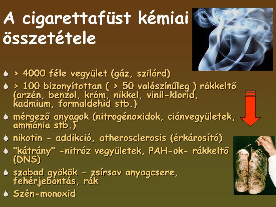 A cigarettafüst kémiai összetétele  > 4000 féle vegyület (gáz, szilárd)  > 100 bizonyítottan ( > 50 valószínűleg ) rákkeltő (arzén, benzol, króm, nikkel, vinil-klorid, kadmium, formaldehid stb.)  mérgező anyagok (nitrogénoxidok, ciánvegyületek, ammónia stb.)  nikotin - addikció, atherosclerosis (érkárosító)  kátrány -nitróz vegyületek, PAH-ok- rákkeltő (DNS)  szabad gyökök - zsírsav anyagcsere, fehérjebontás, rák  Szén-monoxid