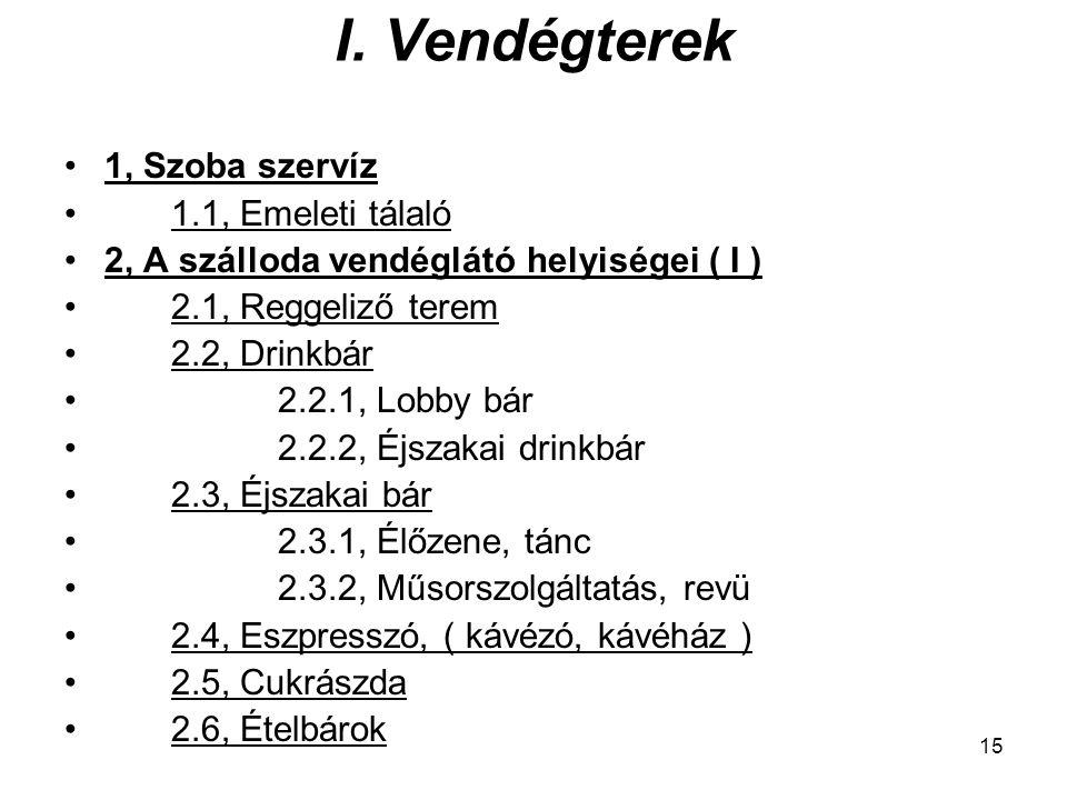 15 I. Vendégterek 1, Szoba szervíz 1.1, Emeleti tálaló 2, A szálloda vendéglátó helyiségei ( I ) 2.1, Reggeliző terem 2.2, Drinkbár 2.2.1, Lobby bár 2
