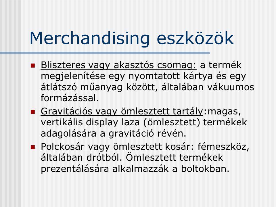 Merchandising eszközök Bliszteres vagy akasztós csomag: a termék megjelenítése egy nyomtatott kártya és egy átlátszó műanyag között, általában vákuumo