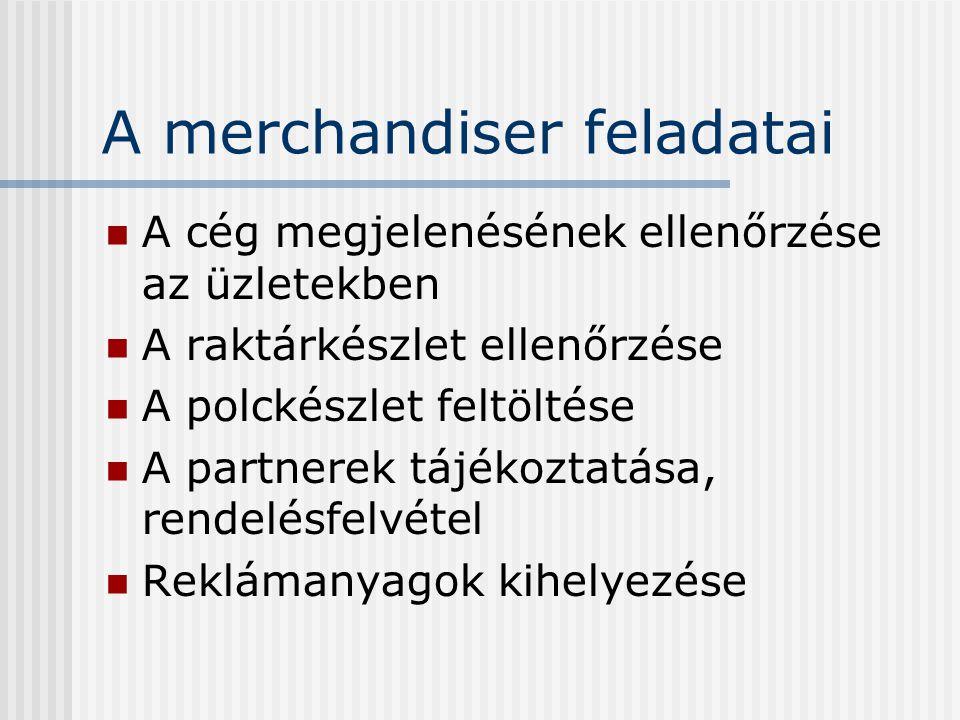 A merchandiser feladatai A cég megjelenésének ellenőrzése az üzletekben A raktárkészlet ellenőrzése A polckészlet feltöltése A partnerek tájékoztatása
