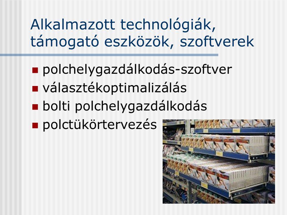 Alkalmazott technológiák, támogató eszközök, szoftverek polchelygazdálkodás-szoftver választékoptimalizálás bolti polchelygazdálkodás polctükörtervezé
