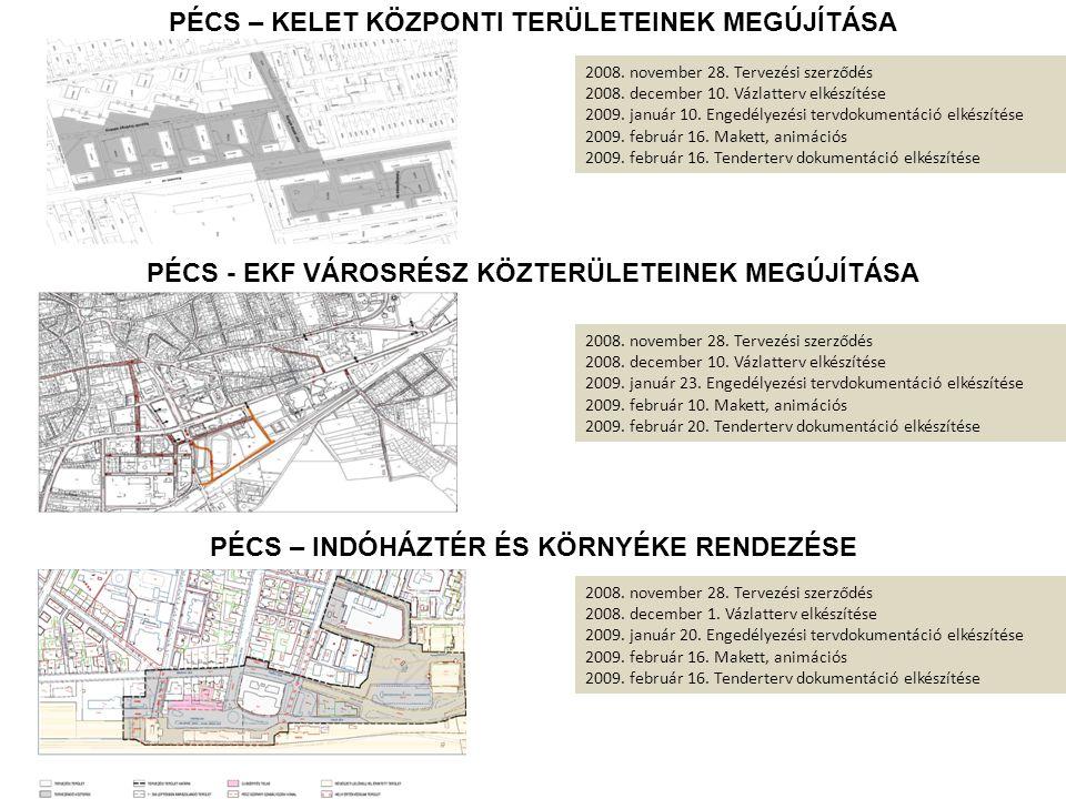 PÉCS PÉCS - EKF VÁROSRÉSZ KÖZTERÜLETEINEK MEGÚJÍTÁSA 2008. november 28. Tervezési szerződés 2008. december 10. Vázlatterv elkészítése 2009. január 23.