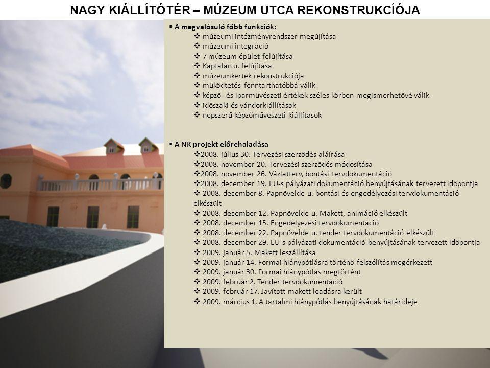NAGY KIÁLLÍTÓTÉR – MÚZEUM UTCA REKONSTRUKCÍÓJA  A megvalósuló főbb funkciók:  múzeumi intézményrendszer megújítása  múzeumi integráció  7 múzeum épület felújítása  Káptalan u.