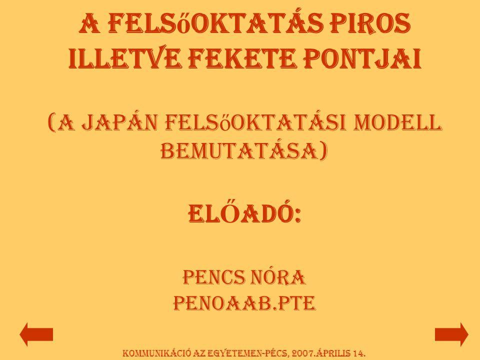 Az előadás felépítése:  A kommunikáció jellemzői  Problémák a felsőoktatásban  Az ázsiai minta-Japán  Megoldások a problémákra  Táblázatok, összegzések Kommunikáció az egyetemen-Pécs, 2007.