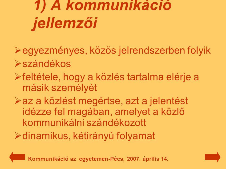 6) Megoldások a problémákra  a többszektorú intézmények könnyebben reagálnak a változásokra  minden országnak meg kell őriznie a felsőoktatásának sajátosságait  egalitáriánus-pluralista felfogás helyett a meritokratikus-pluralista  kisebb léptékű változtatások, vagy akár radikálisak is Kommunikáció az egyetemen-Pécs, 2007.