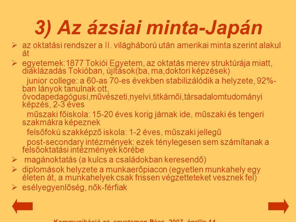 3) Az ázsiai minta-Japán  az oktatási rendszer a II. világháború után amerikai minta szerint alakul át  egyetemek:1877 Tokiói Egyetem, az oktatás me