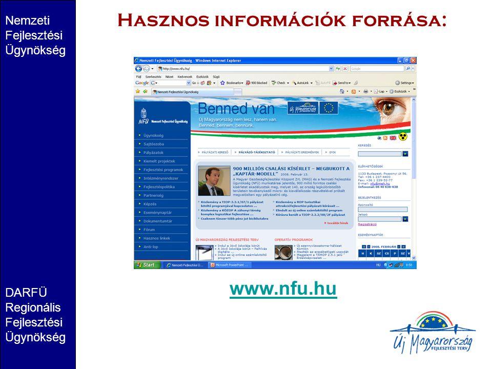 Nemzeti Fejlesztési Ügynökség DARFÜ Regionális Fejlesztési Ügynökség Hasznos információk forrása: www.nfu.hu