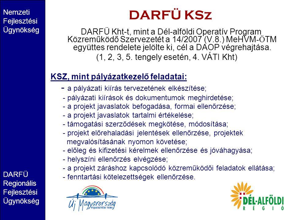 DARFÜ KSz DARFÜ Kht-t, mint a Dél-alföldi Operatív Program Közreműködő Szervezetét a 14/2007 (V.8.) MeHVM-ÖTM együttes rendelete jelölte ki, cél a DAOP végrehajtása.