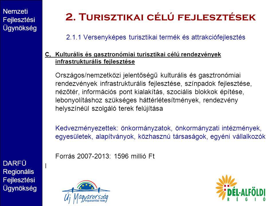 2. Turisztikai célú fejlesztések Nemzeti Fejlesztési Ügynökség DARFÜ Regionális Fejlesztési Ügynökség 2.1.1 Versenyképes turisztikai termék és attrakc