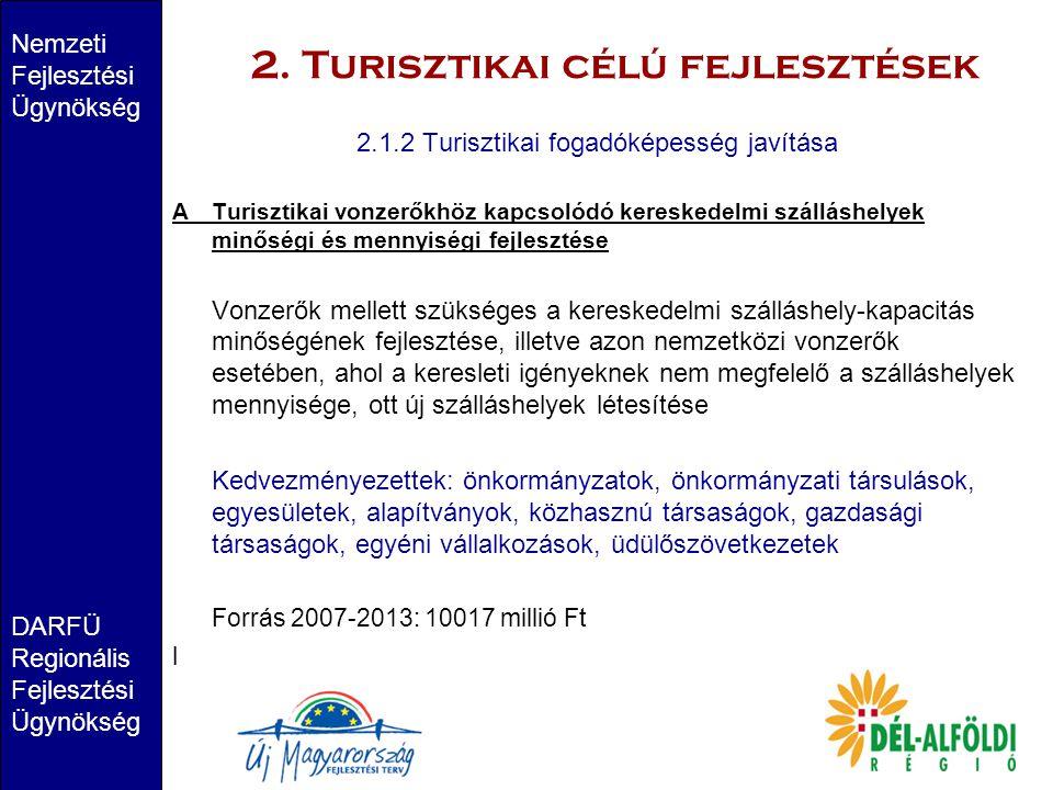 2. Turisztikai célú fejlesztések Nemzeti Fejlesztési Ügynökség DARFÜ Regionális Fejlesztési Ügynökség 2.1.2 Turisztikai fogadóképesség javítása ATuris
