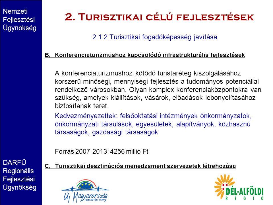 2. Turisztikai célú fejlesztések Nemzeti Fejlesztési Ügynökség DARFÜ Regionális Fejlesztési Ügynökség 2.1.2 Turisztikai fogadóképesség javítása B,Konf