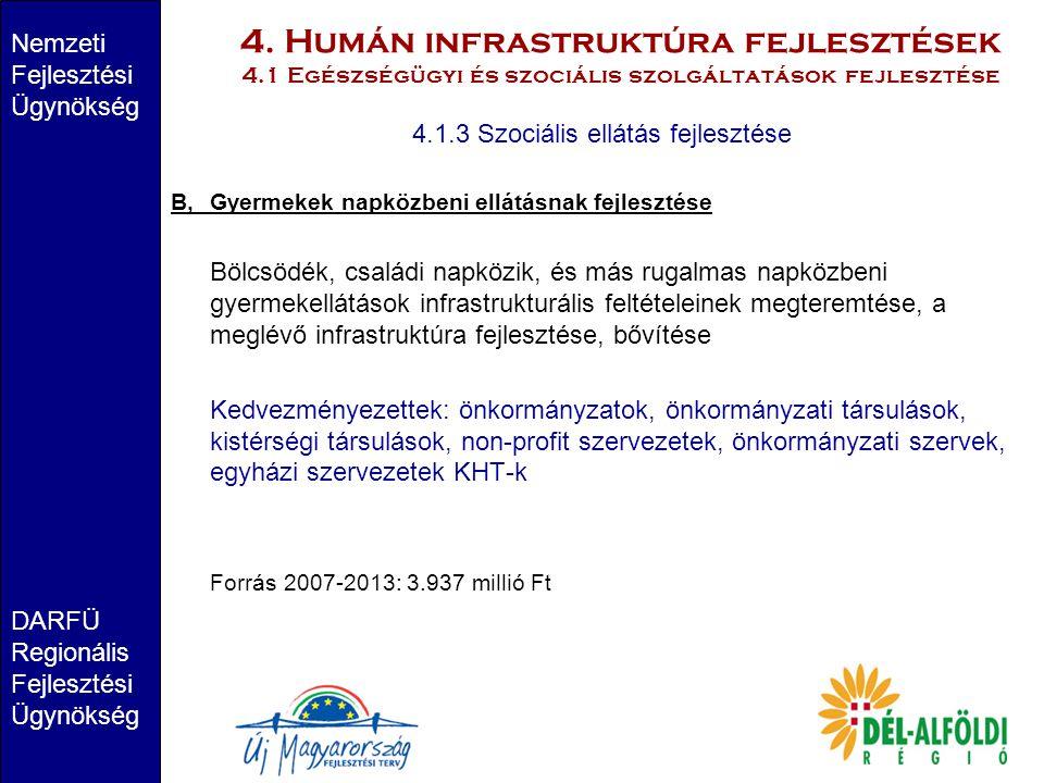 4. Humán infrastruktúra fejlesztések 4.1 Egészségügyi és szociális szolgáltatások fejlesztése Nemzeti Fejlesztési Ügynökség DARFÜ Regionális Fejleszté