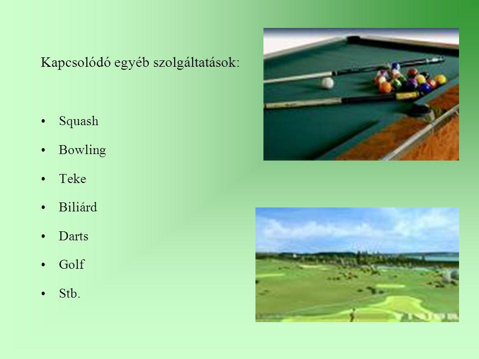 Kapcsolódó egyéb szolgáltatások: Squash Bowling Teke Biliárd Darts Golf Stb.