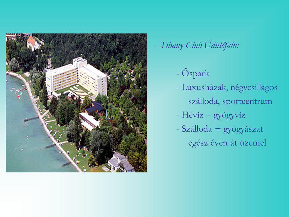 - Tihany Club Üdülőfalu: - Őspark - Luxusházak, négycsillagos szálloda, sportcentrum - Hévíz – gyógyvíz - Szálloda + gyógyászat egész éven át üzemel