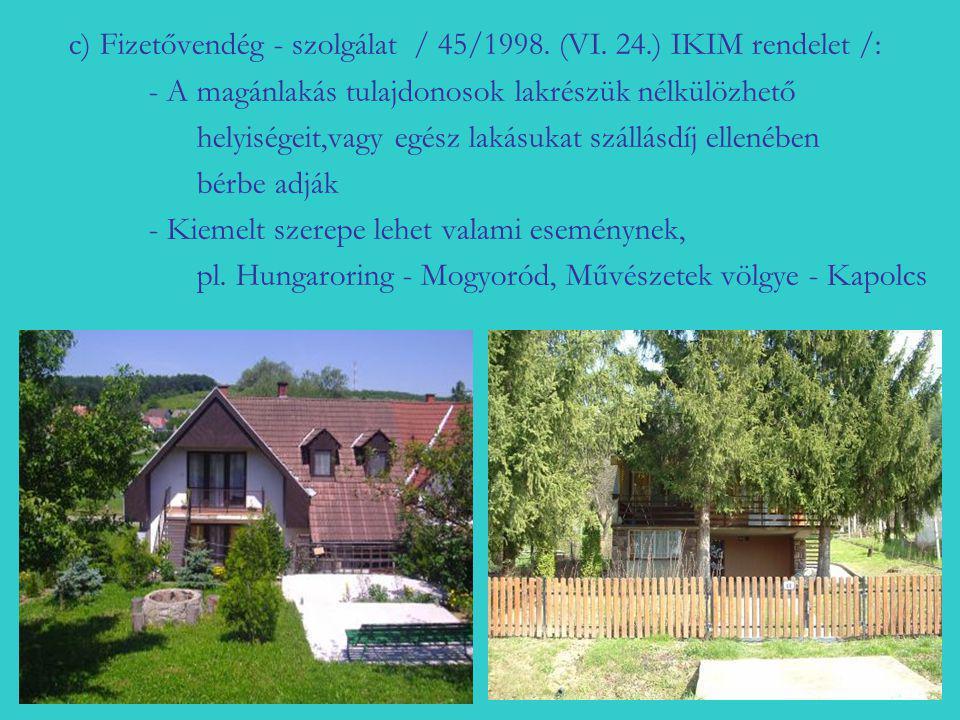 c) Fizetővendég - szolgálat / 45/1998. (VI. 24.) IKIM rendelet /: - A magánlakás tulajdonosok lakrészük nélkülözhető helyiségeit,vagy egész lakásukat