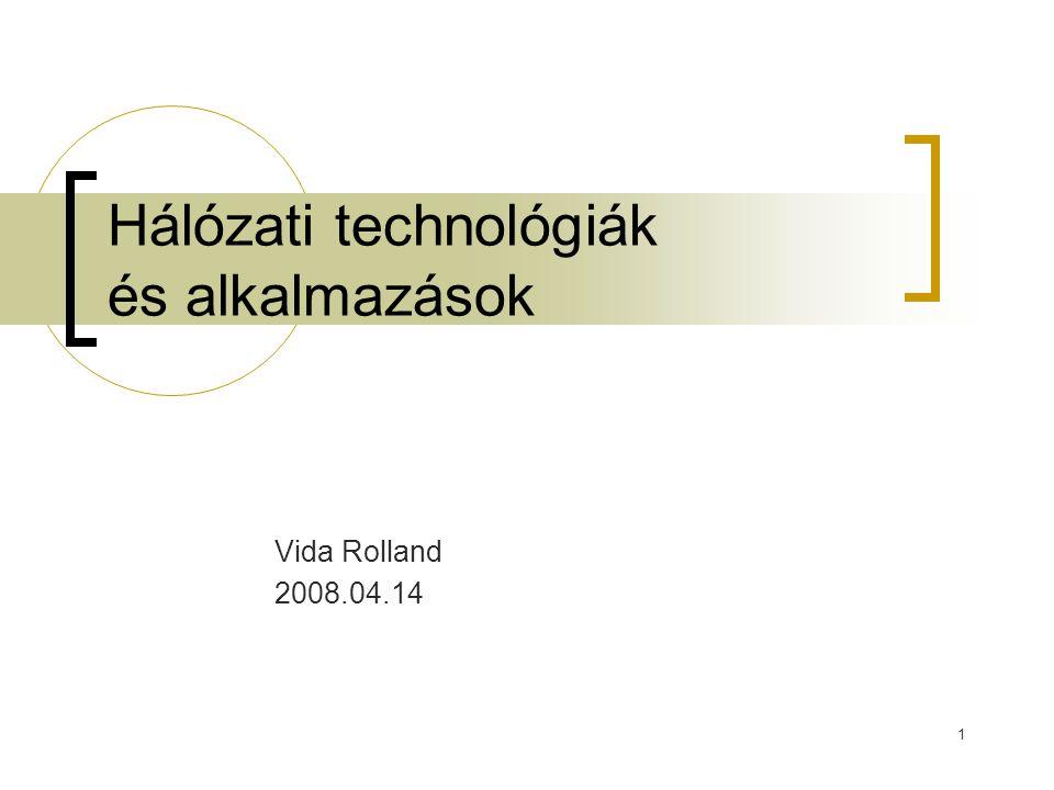 1 Hálózati technológiák és alkalmazások Vida Rolland 2008.04.14