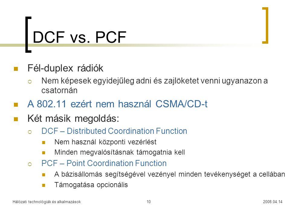 Hálózati technológiák és alkalmazások2008.04.1410 DCF vs. PCF Fél-duplex rádiók  Nem képesek egyidejűleg adni és zajlöketet venni ugyanazon a csatorn