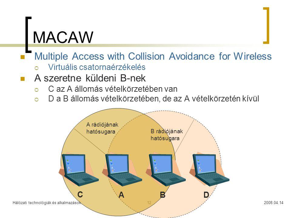 Hálózati technológiák és alkalmazások2008.04.1412 MACAW Multiple Access with Collision Avoidance for Wireless  Virtuális csatornaérzékelés A szeretne