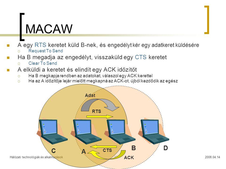 Hálózati technológiák és alkalmazások2008.04.1413 MACAW A egy RTS keretet küld B-nek, és e ngedélyt kér egy adatkeret küldésére  Request To Send Ha B