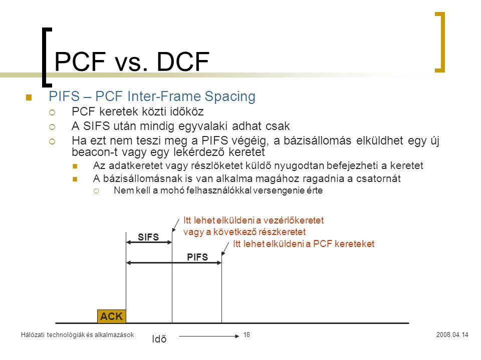 Hálózati technológiák és alkalmazások2008.04.1418 PCF vs. DCF PIFS – PCF Inter-Frame Spacing  PCF keretek közti időköz  A SIFS után mindig egyvalaki