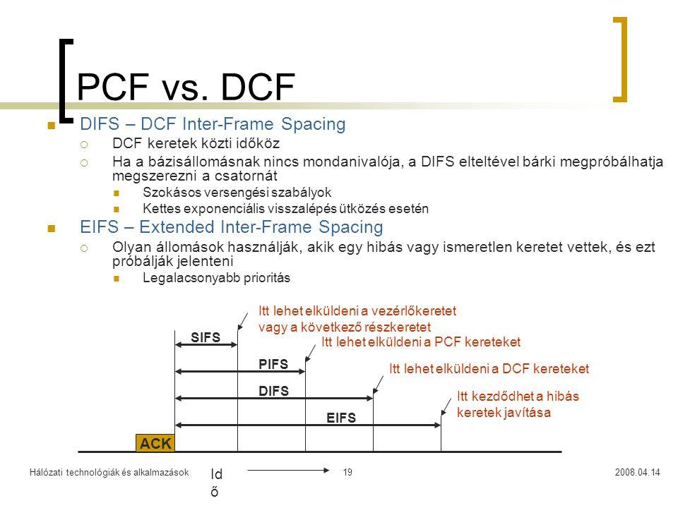 Hálózati technológiák és alkalmazások2008.04.1419 PCF vs. DCF DIFS – DCF Inter-Frame Spacing  DCF keretek közti időköz  Ha a bázisállomásnak nincs m