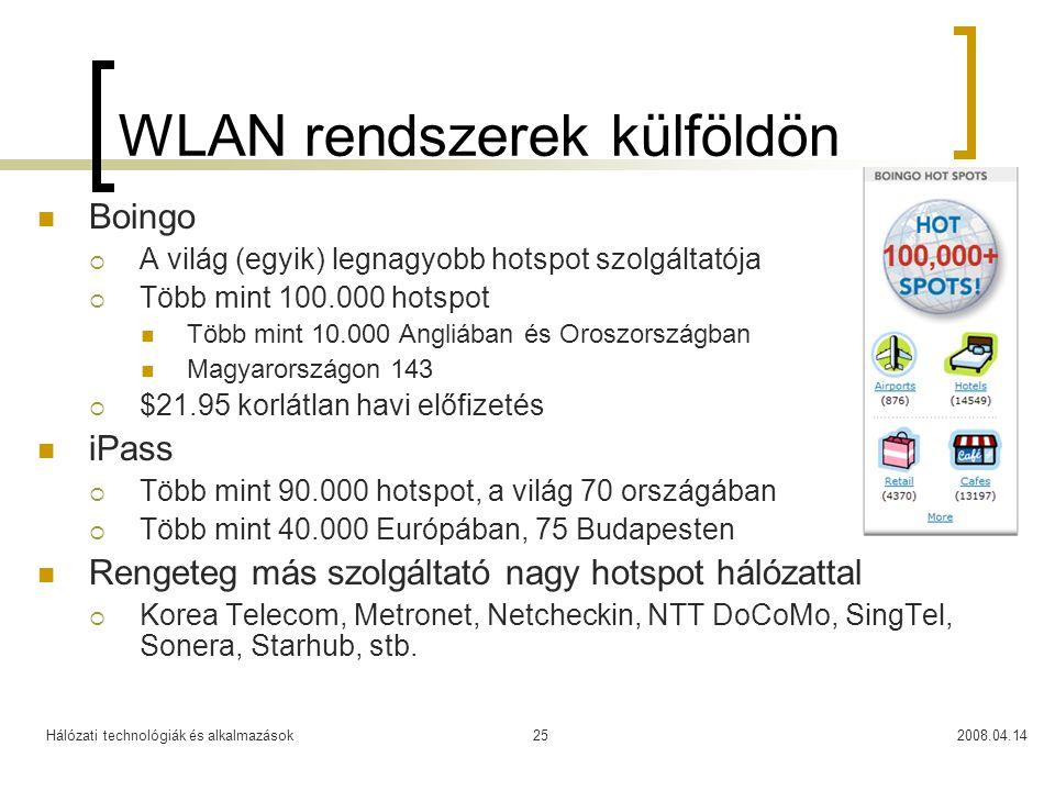 Hálózati technológiák és alkalmazások2008.04.1425 WLAN rendszerek külföldön Boingo  A világ (egyik) legnagyobb hotspot szolgáltatója  Több mint 100.