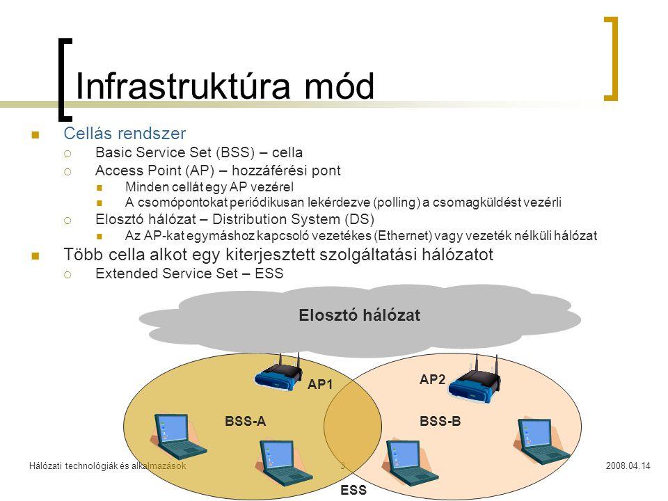 Hálózati technológiák és alkalmazások2008.04.143 Infrastruktúra mód Cellás rendszer  Basic Service Set (BSS) – cella  Access Point (AP) – hozzáférés