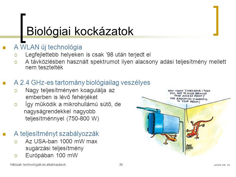 Hálózati technológiák és alkalmazások2008.04.1434 Biológiai kockázatok A WLAN új technológia  Legfejlettebb helyeken is csak '98 után terjedt el  A