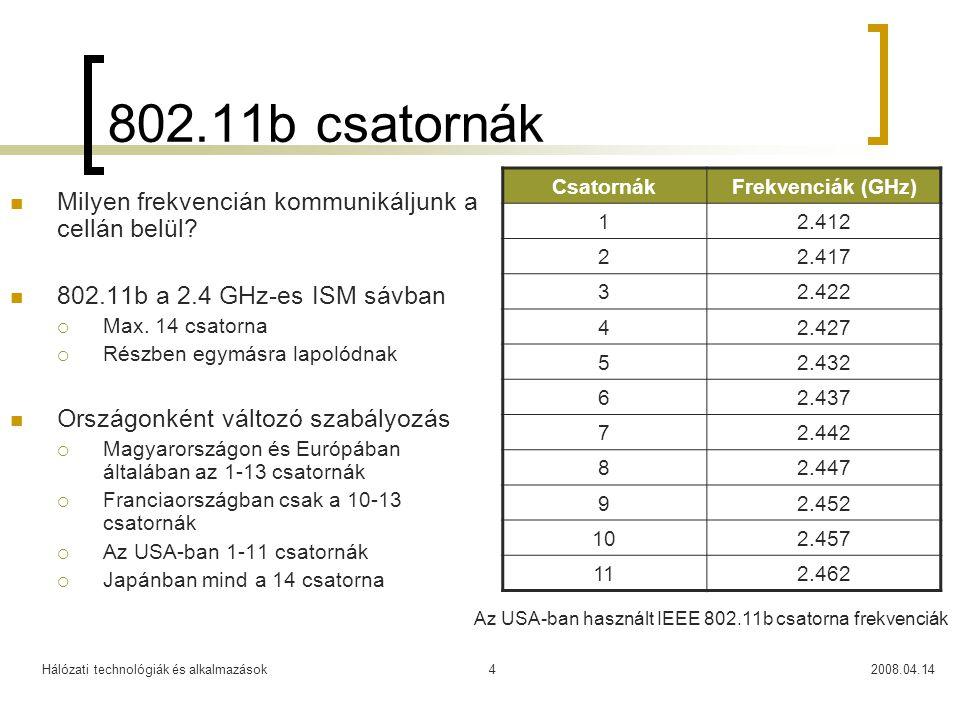 Hálózati technológiák és alkalmazások2008.04.144 802.11b csatornák Milyen frekvencián kommunikáljunk a cellán belül? 802.11b a 2.4 GHz-es ISM sávban 