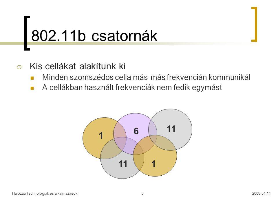 Hálózati technológiák és alkalmazások2008.04.145 802.11b csatornák  Kis cellákat alakítunk ki Minden szomszédos cella más-más frekvencián kommunikál