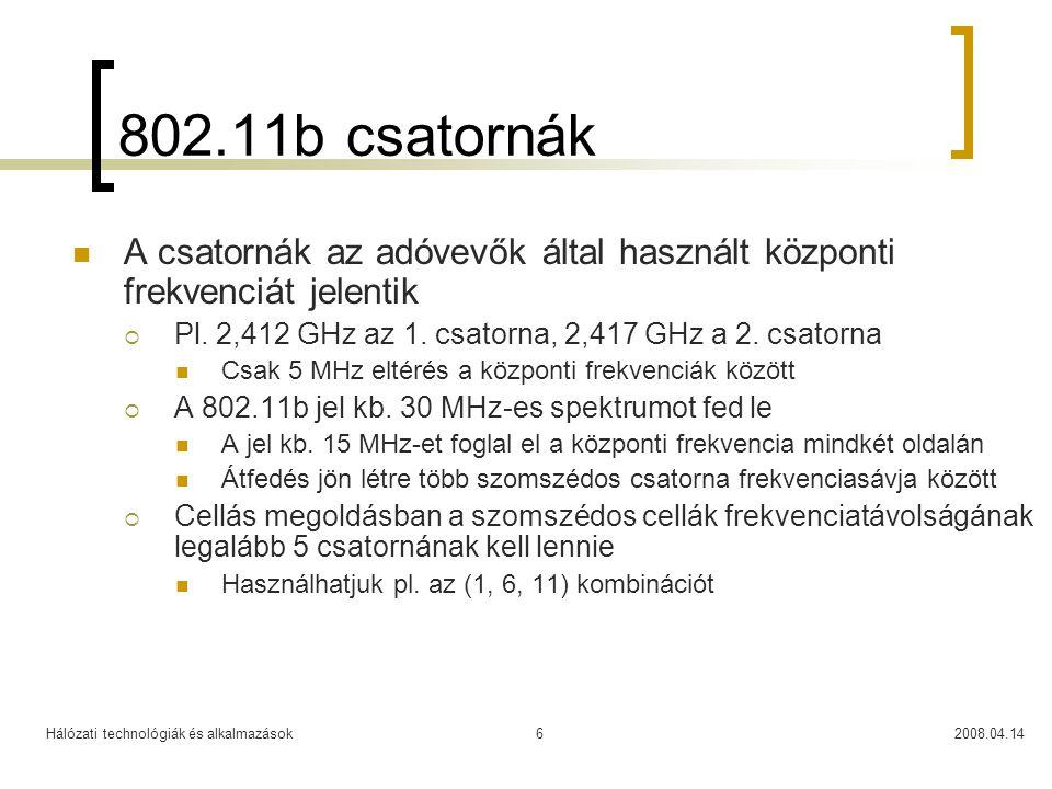 Hálózati technológiák és alkalmazások2008.04.146 802.11b csatornák A csatornák az adóvevők által használt központi frekvenciát jelentik  Pl. 2,412 GH