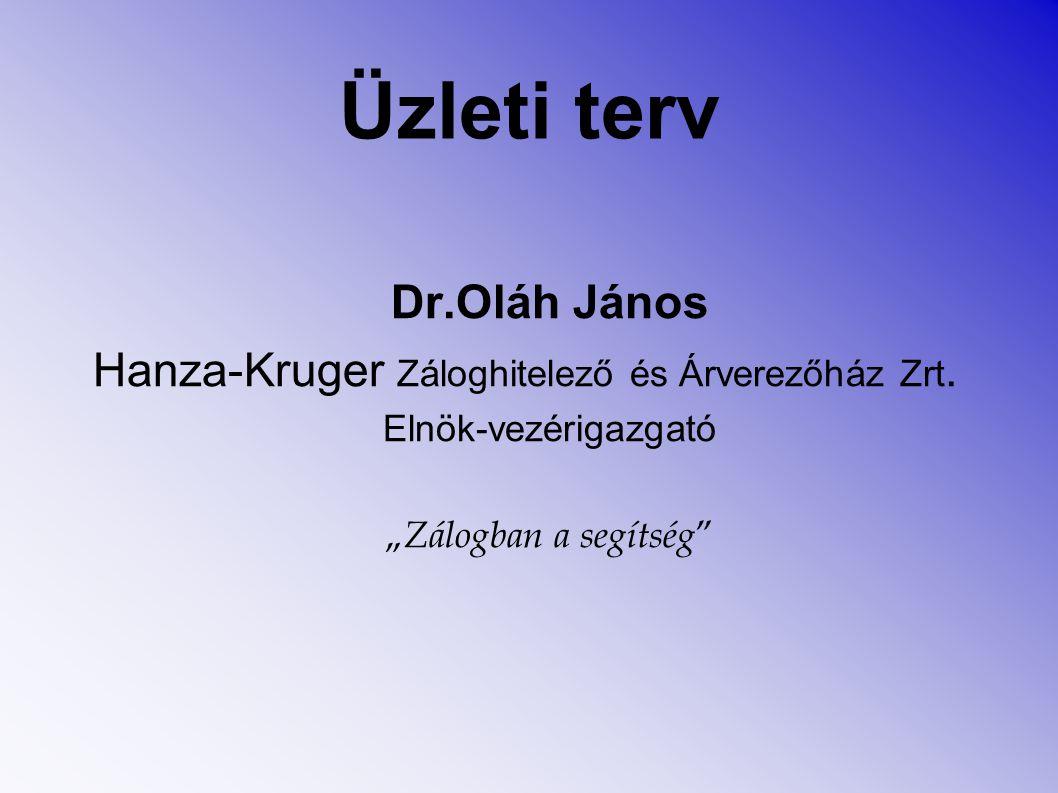 """Üzleti terv Dr.Oláh János Hanza-Kruger Záloghitelező és Árverezőház Zrt. Elnök-vezérigazgató """" Zálogban a segítség """""""
