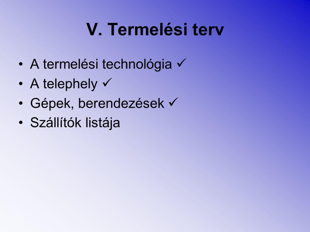 V. Termelési terv A termelési technológia A telephely Gépek, berendezések Szállítók listája