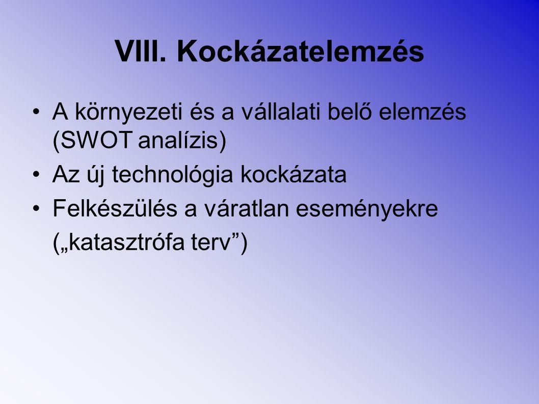 """VIII. Kockázatelemzés A környezeti és a vállalati belő elemzés (SWOT analízis) Az új technológia kockázata Felkészülés a váratlan eseményekre (""""katasz"""