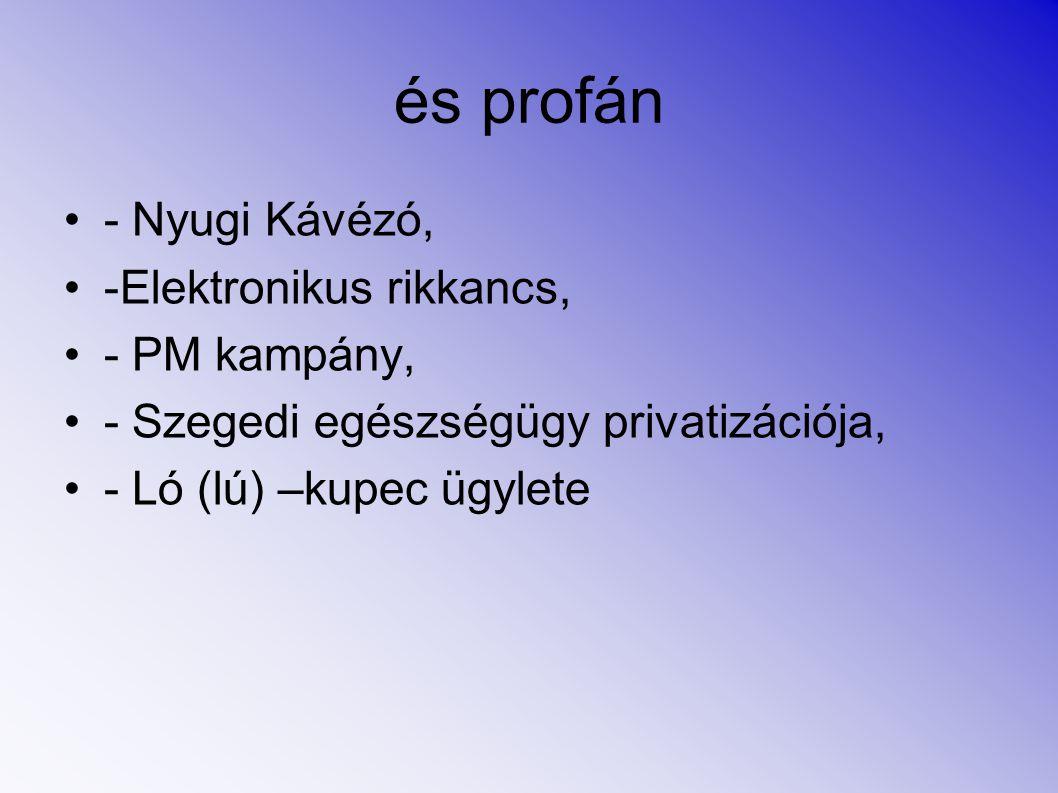 és profán - Nyugi Kávézó, -Elektronikus rikkancs, - PM kampány, - Szegedi egészségügy privatizációja, - Ló (lú) –kupec ügylete