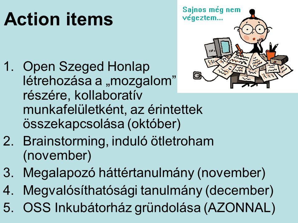 """Action items 1.Open Szeged Honlap létrehozása a """"mozgalom"""" részére, kollaboratív munkafelületként, az érintettek összekapcsolása (október) 2.Brainstor"""