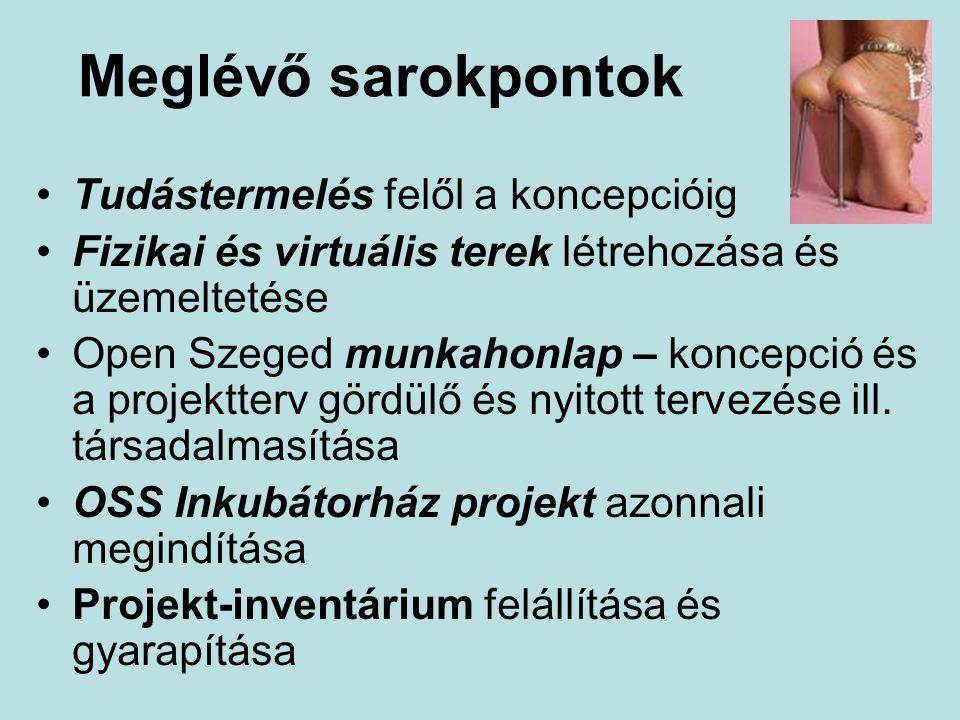 Meglévő sarokpontok Tudástermelés felől a koncepcióig Fizikai és virtuális terek létrehozása és üzemeltetése Open Szeged munkahonlap – koncepció és a