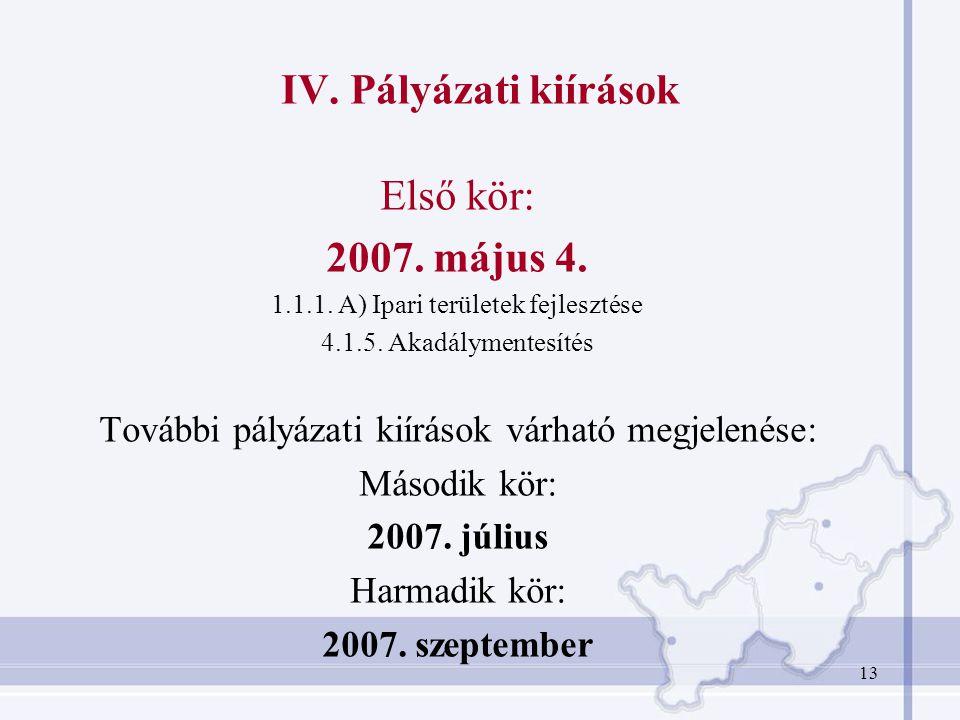 13 IV.Pályázati kiírások Első kör: 2007. május 4.