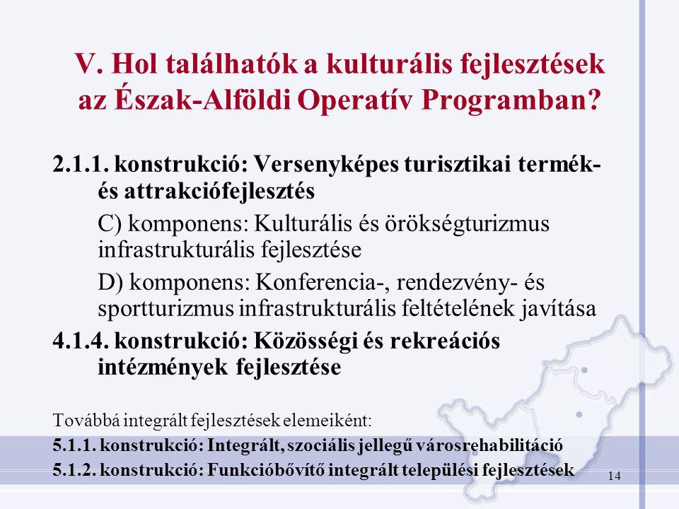 14 V.Hol találhatók a kulturális fejlesztések az Észak-Alföldi Operatív Programban.