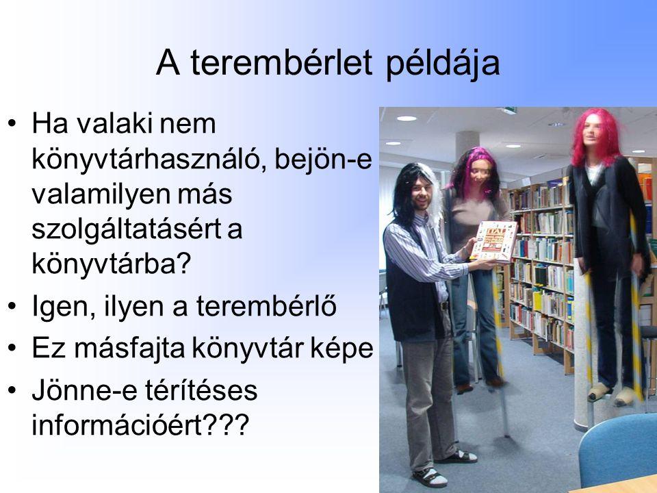 A terembérlet példája Ha valaki nem könyvtárhasználó, bejön-e valamilyen más szolgáltatásért a könyvtárba.