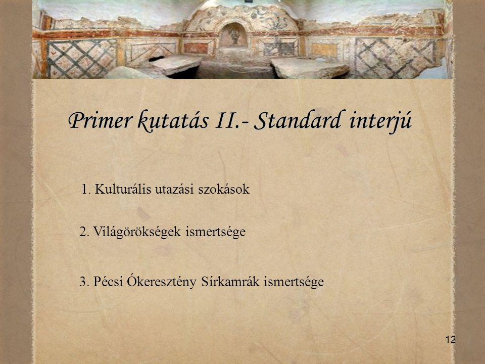12 Primer kutatás II.- Standard interjú Primer kutatás II.- Standard interjú 1. Kulturális utazási szokások 2. Világörökségek ismertsége 3. Pécsi Óker
