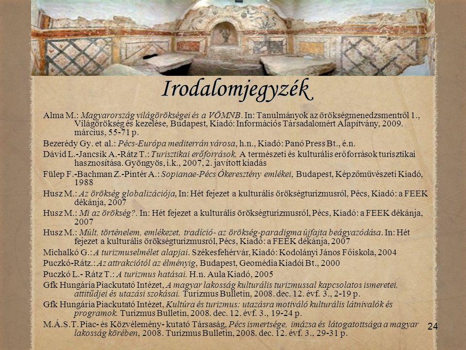 24 Irodalomjegyzék Alma M.: Magyarország világörökségei és a VÖMNB. In: Tanulmányok az örökségmenedzsmentről 1., Világörökség és kezelése, Budapest, K