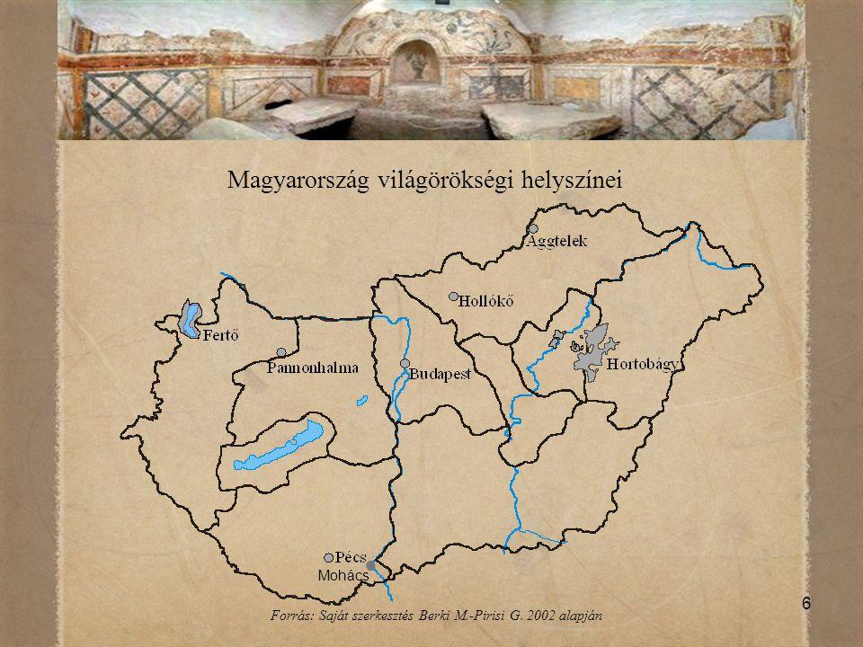 17 A magyarországi világörökségek ismertsége 2010-ben (%) IsmeriNem ismeri Fertő/ Neusiedlersee kultúrtáj61,438,6 Pécsi Ókeresztény Sírkamrák46,653,4 Az Ezeréves Pannonhalmi Bencés Főapátság77,222,8 Hollókő Ófalu és táji környezete80,020,0 A tokaji történelmi borvidék85,814,2 Az Aggteleki-karszt és a Szlovák-karszt barlangjai88,411,6 Budapest Duna-parti látképe, a budai Várnegyed, az Andrássy út és történelmi környezete 90,69,4 Hortobágyi Nemzeti Park – Puszta90,89,2 Mohácsi busójárás68,231,8 Forrás: Saját szerkesztés