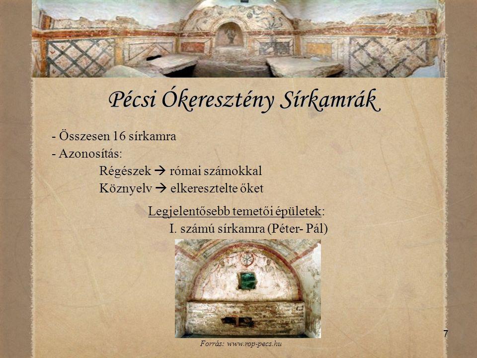 7 Pécsi Ókeresztény Sírkamrák Pécsi Ókeresztény Sírkamrák - Összesen 16 sírkamra - Azonosítás: Régészek  római számokkal Köznyelv  elkeresztelte őke