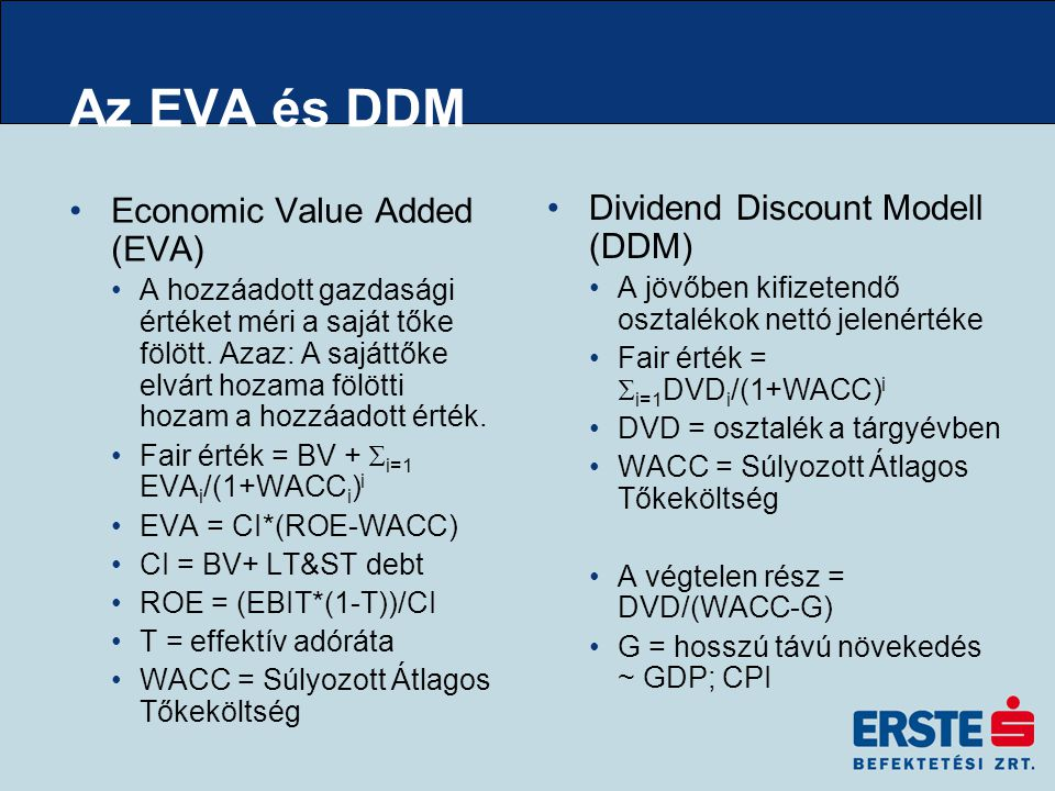 Az EVA és DDM Economic Value Added (EVA) A hozzáadott gazdasági értéket méri a saját tőke fölött.