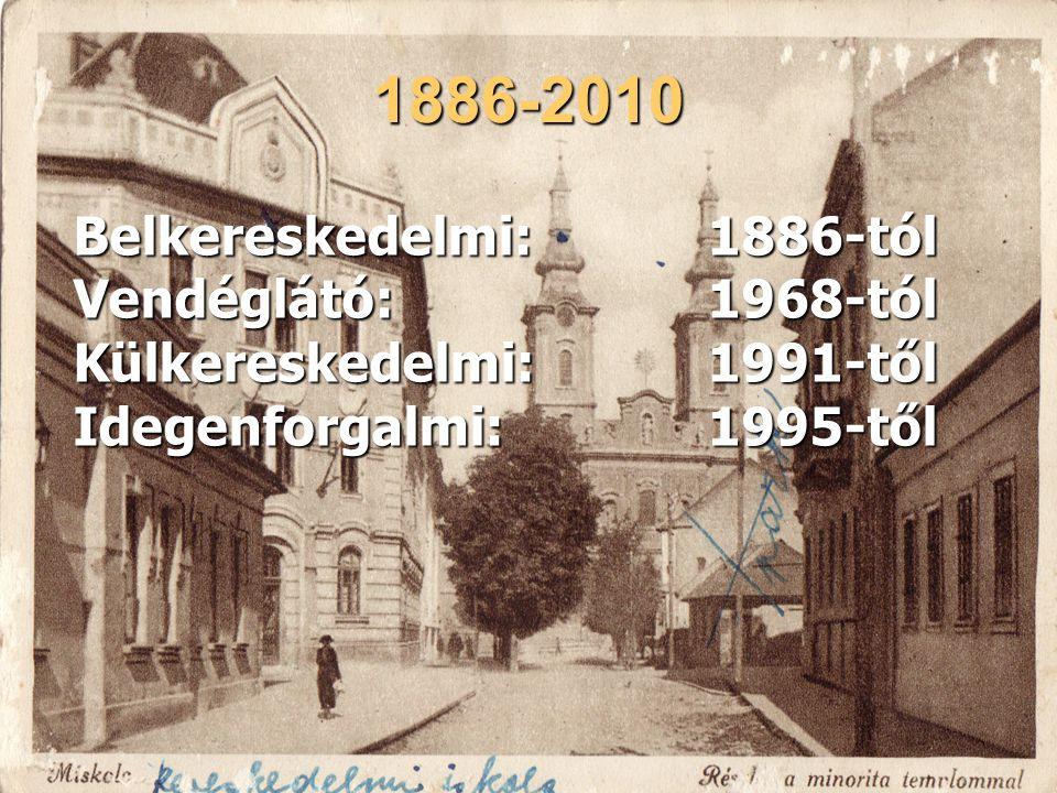 1886-2010 Belkereskedelmi: 1886-tól Vendéglátó: 1968-tól Külkereskedelmi:1991-től Idegenforgalmi:1995-től
