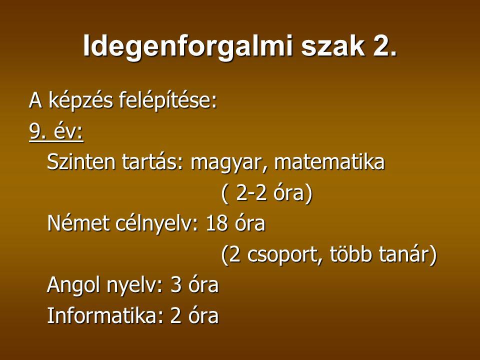 Idegenforgalmi szak 2. A képzés felépítése: 9. év: Szinten tartás: magyar, matematika ( 2-2 óra) Német célnyelv: 18 óra (2 csoport, több tanár) Angol